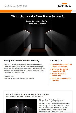 STILL Newsletter zur CeMAT 2011